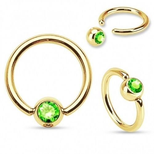 Gold Plated Ball Closure Ring with Green Gem Ball
